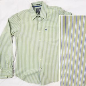 A&F green blue stripe button-down long sleeve Med